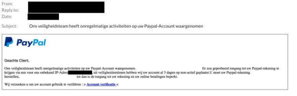 Paypal spear phising mail voorbeeld